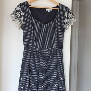 Short Sleeve Embroidered Polka Dot Navy Dress